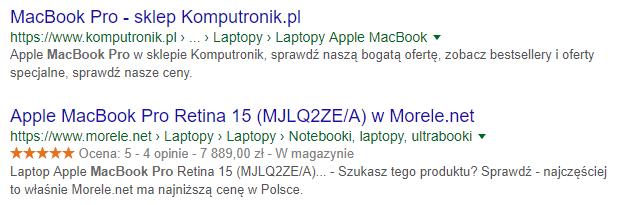 dane strukuralne w wynikach wyszukiwania